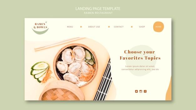 Modelo de página de destino do restaurante ramen