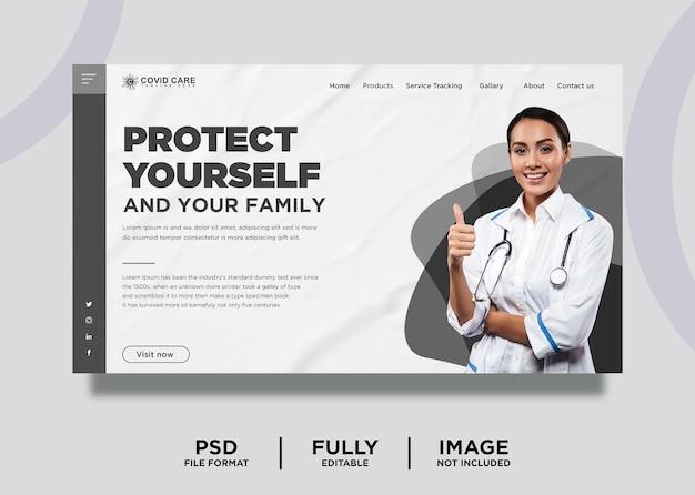 Modelo de página de destino do site de conscientização sobre saúde