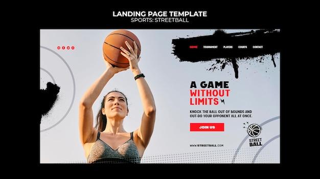 Modelo de página de destino do streetball
