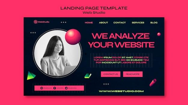 Modelo de página de destino do web studio