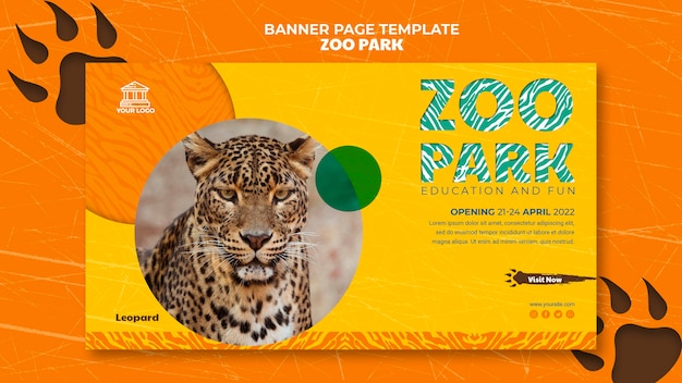 Modelo de página de destino do zoo park