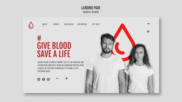 Modelo de página de destino doar sangue