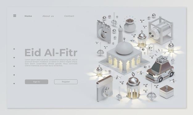 Modelo de página de destino eid mubarak com composição de renderização 3d