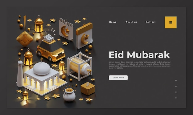 Modelo de página de destino eid mubarak com composição isométrica de renderização 3d