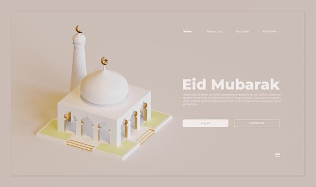 Modelo de página de destino eid mubarak com renderização 3d da mesquita