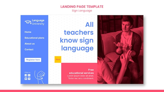 Modelo de página de destino em linguagem de sinais