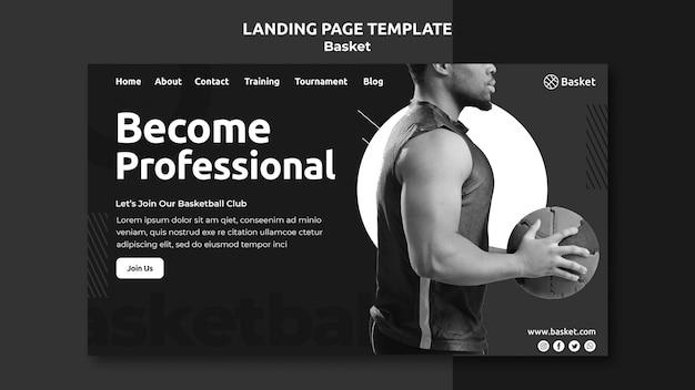 Modelo de página de destino em preto e branco com atleta masculino de basquete