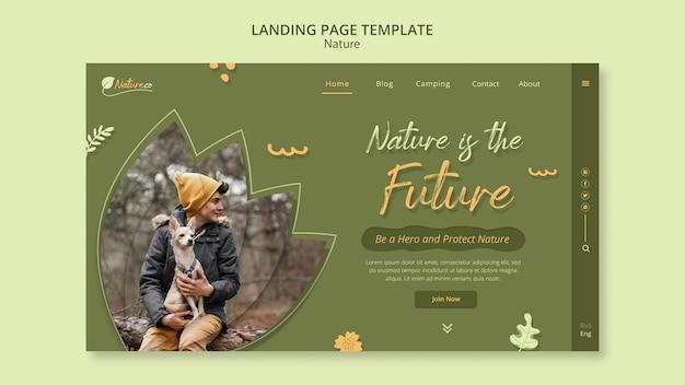 Modelo de página de destino explorando a natureza