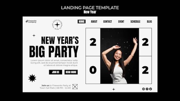 Modelo de página de destino festiva de ano novo