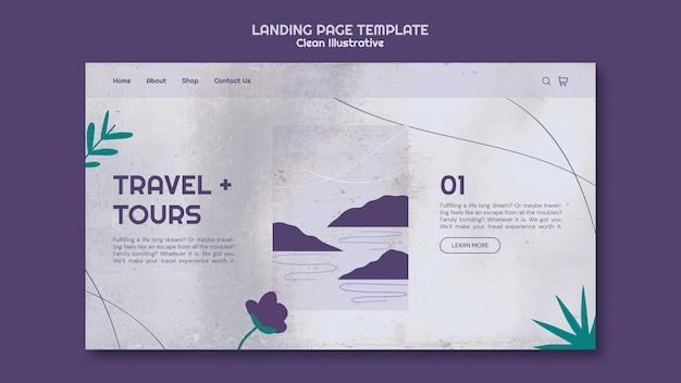 Modelo de página de destino ilustrativo e limpo