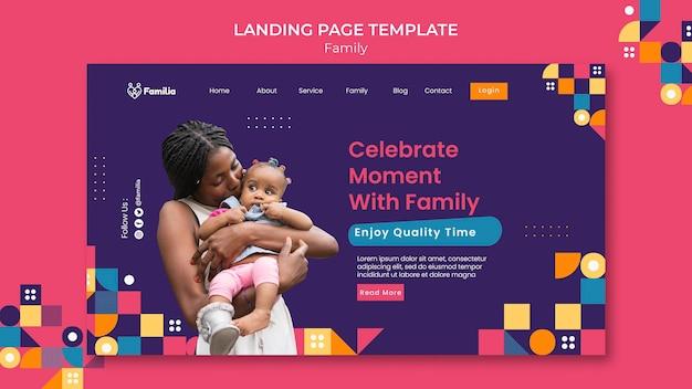 Modelo de página de destino inspirado na família
