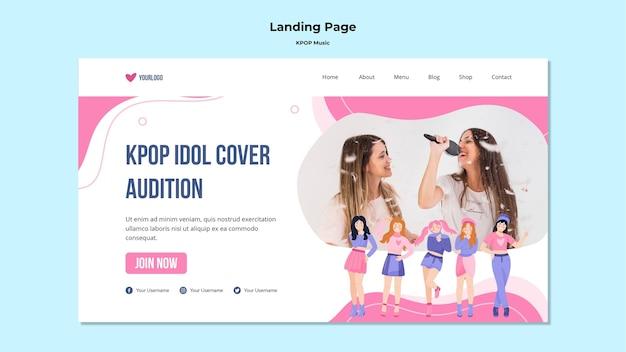 Modelo de página de destino k-pop