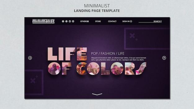 Modelo de página de destino minimalista