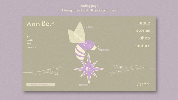 Modelo de página de destino mística voadora