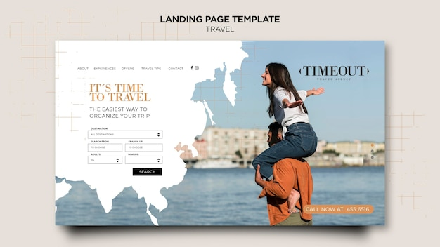 Modelo de página de destino na hora de viajar