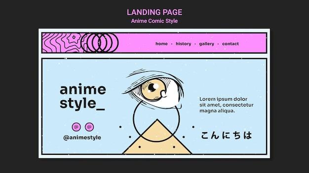 Modelo de página de destino no estilo anime comic