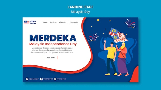 Modelo de página de destino para a celebração do aniversário do dia da malásia