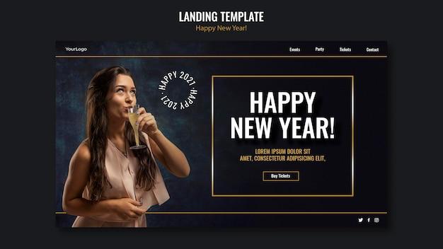 Modelo de página de destino para a celebração do ano novo