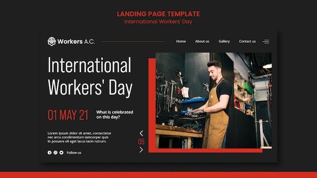 Modelo de página de destino para a celebração do dia do trabalhador internacional