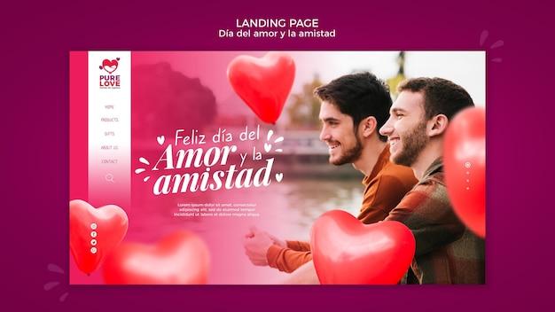Modelo de página de destino para a celebração do dia dos namorados