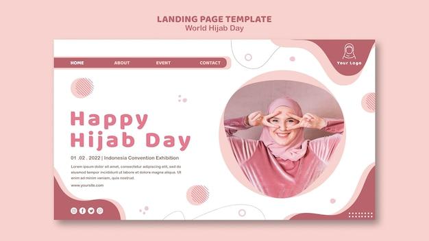 Modelo de página de destino para a celebração do dia mundial do hijab