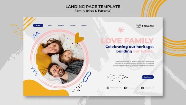 Modelo de página de destino para a família