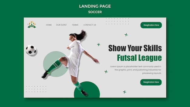 Modelo de página de destino para a liga de futebol feminino