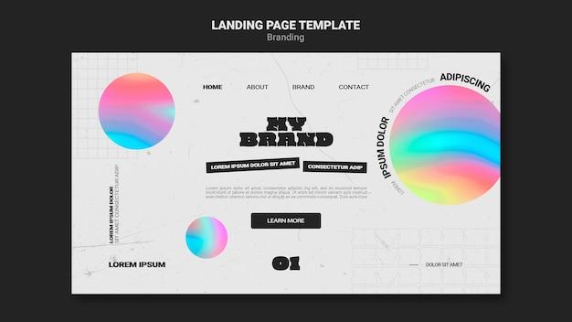 Modelo de página de destino para a marca da empresa com forma de círculo colorido