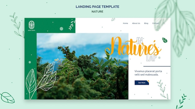 Modelo de página de destino para a natureza com paisagem de vida selvagem