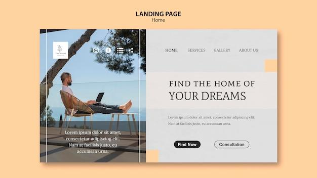 Modelo de página de destino para a nova casa dos sonhos