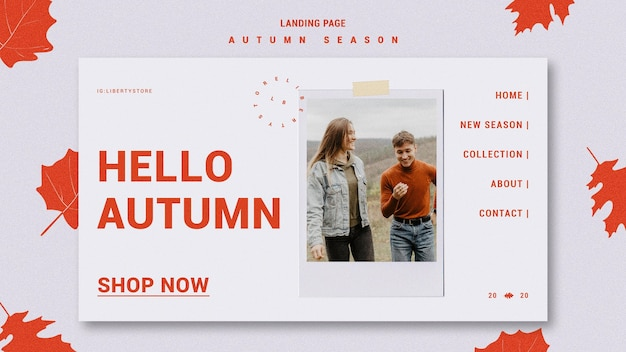 Modelo de página de destino para a nova coleção de roupas de outono