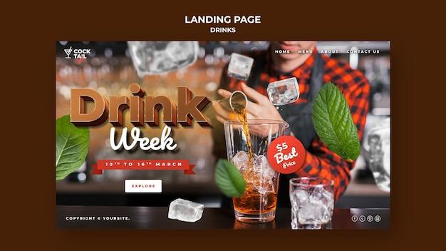 Modelo de página de destino para a semana da bebida