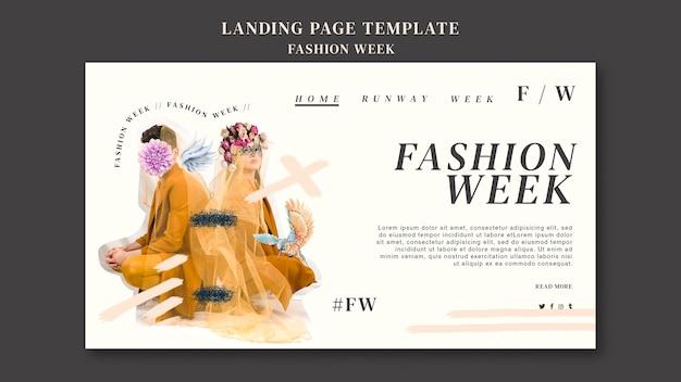 Modelo de página de destino para a semana da moda
