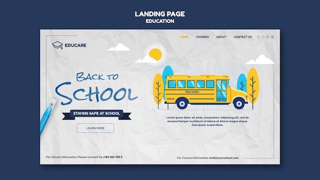 Modelo de página de destino para a volta às aulas