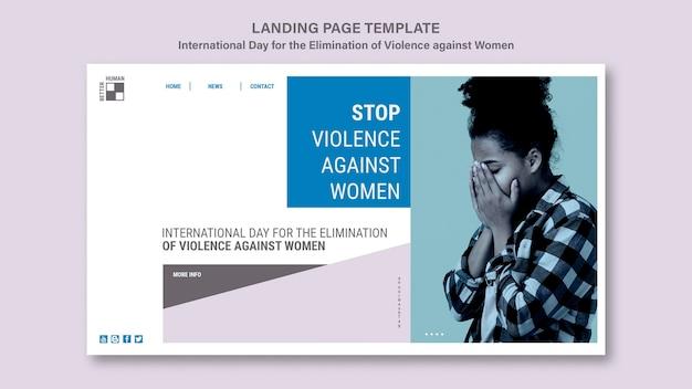 Modelo de página de destino para acabar com a violência contra mulheres