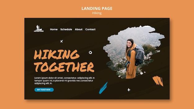 Modelo de página de destino para acampamento e caminhada