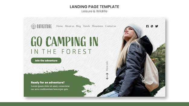 Modelo de página de destino para acampar na floresta