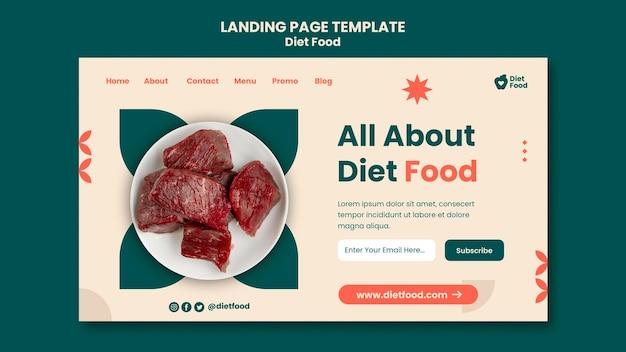 Modelo de página de destino para alimentos diet
