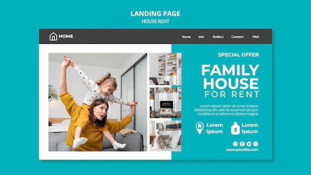 Modelo de página de destino para aluguel de casa de família
