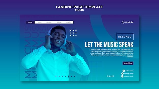 Modelo de página de destino para amantes da música