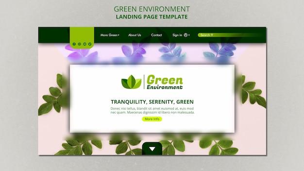 Modelo de página de destino para ambiente verde