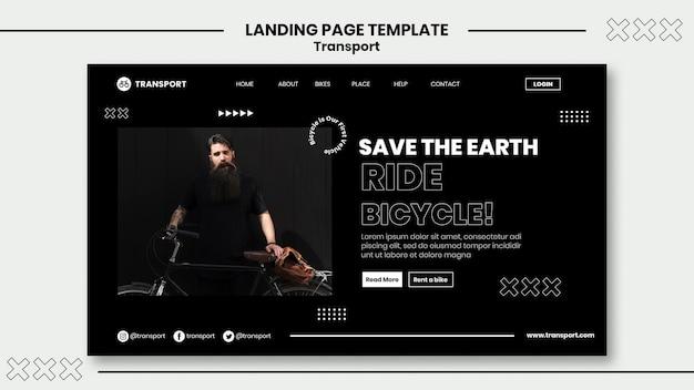 Modelo de página de destino para andar de bicicleta