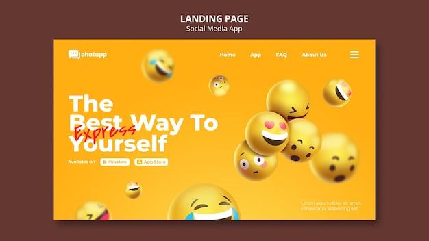 Modelo de página de destino para aplicativo de bate-papo de mídia social com emojis