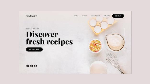 Modelo de página de destino para aprender receitas de culinária