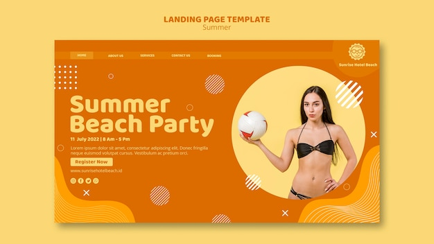 Modelo de página de destino para as férias de verão