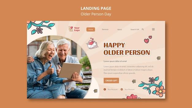 Modelo de página de destino para assistência e cuidados a idosos
