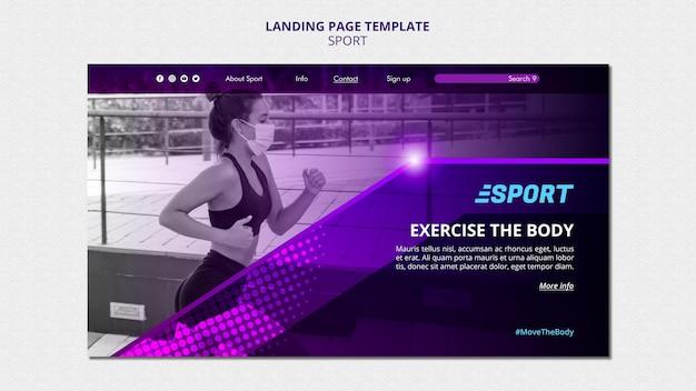 Modelo de página de destino para atividades esportivas