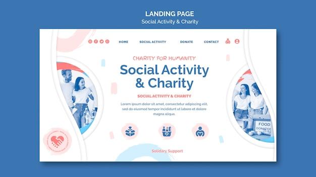 Modelo de página de destino para atividades sociais e caridade