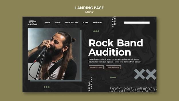 Modelo de página de destino para audições de banda de rock
