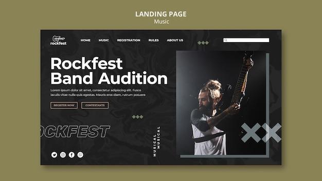 Modelo de página de destino para audições de banda rockfest